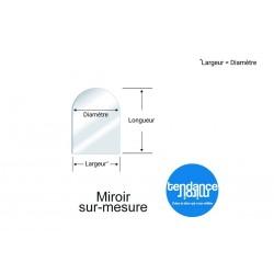 Miroir Acrylique 3mm Sur-Mesure Semi-rond