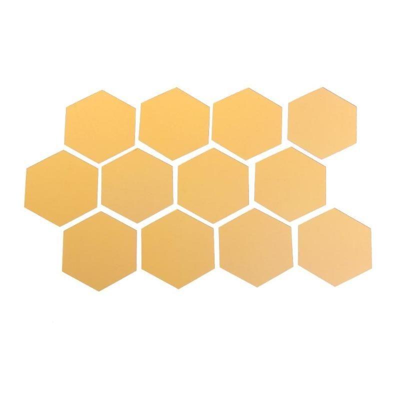 12 espejos de diseño hexagonal 3D