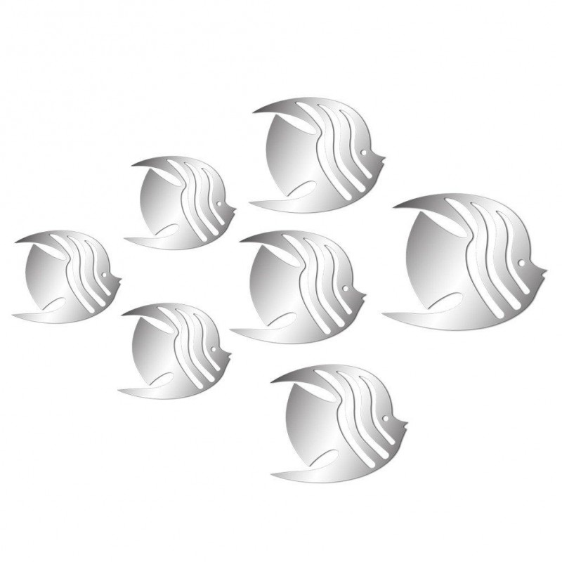 Set of 7 decorative 3D fish mirrors