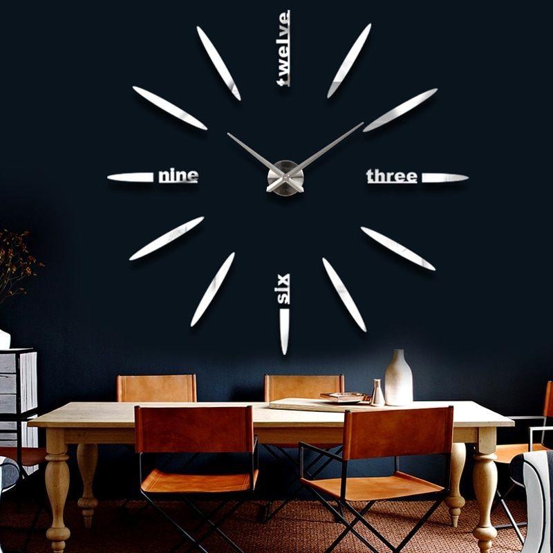 Grande Horloge Miroir Murale