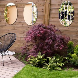 Set of 3 oval mirrors 60 cm to stick