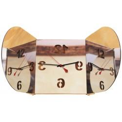 Triptych Round Mirror Clock