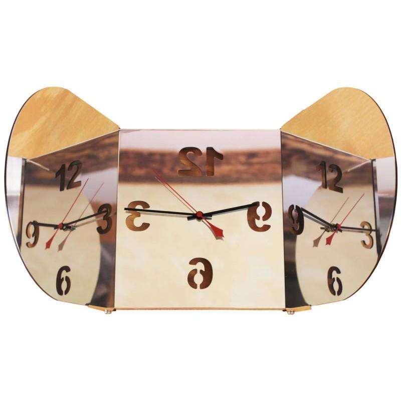 Horloge Triptyque Miroir Rond