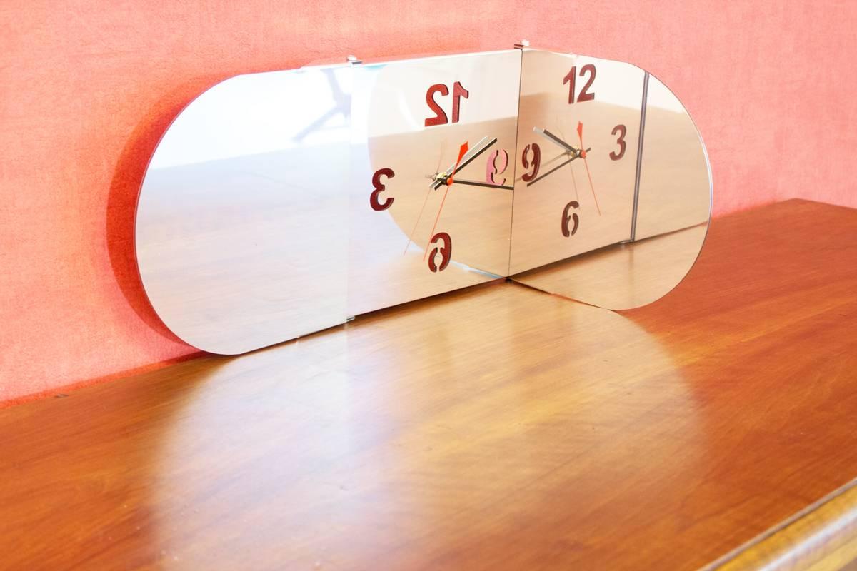 triptych round mirror clock tendance miroir design. Black Bedroom Furniture Sets. Home Design Ideas