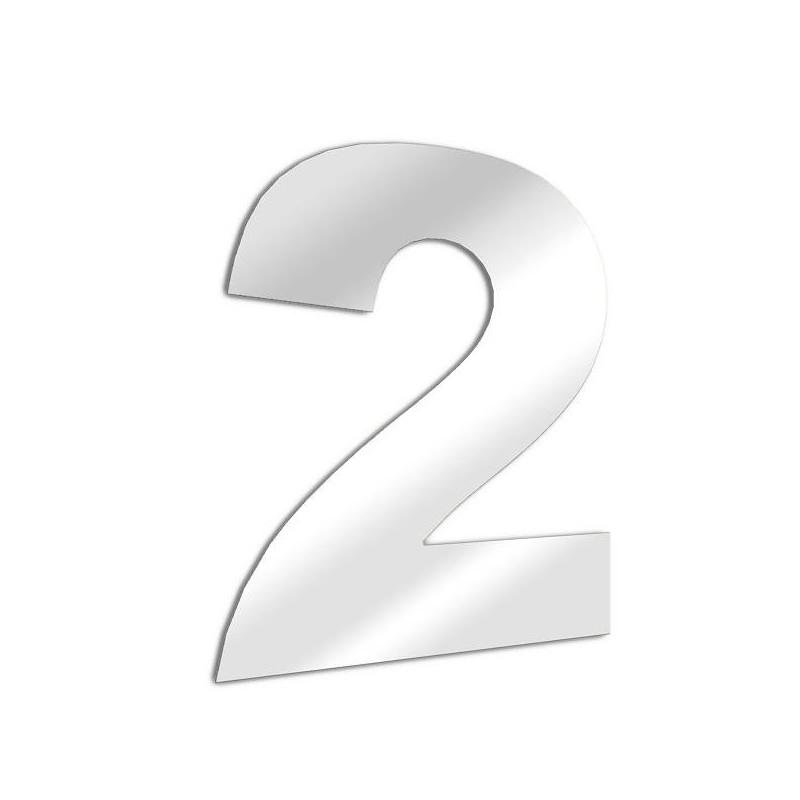 Miroir chiffre 2 Arial - deux