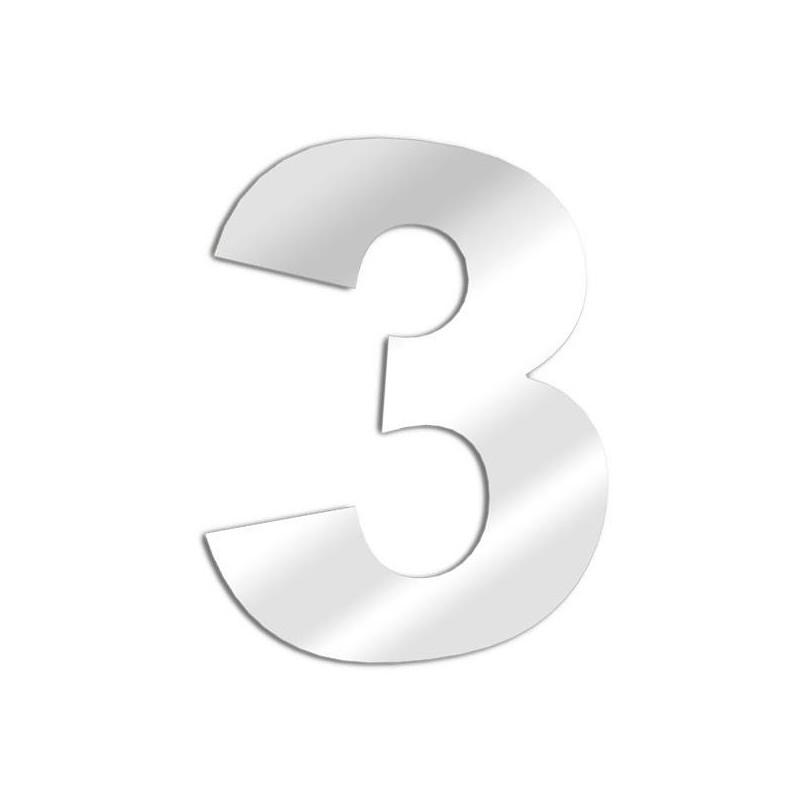 Miroir chiffre 3 Arial - trois
