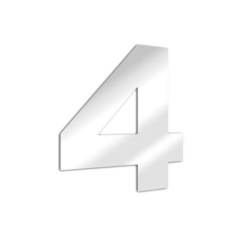 Miroir chiffre 4 Arial - quatre