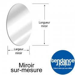 Oval nach Maß Aluminiumspiegel